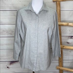 Faconnable Grey Wool Spandex Button Up Blouse M